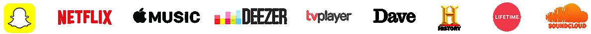 Netflix, Apple Music, TV Player, Deezer and Soundcloud