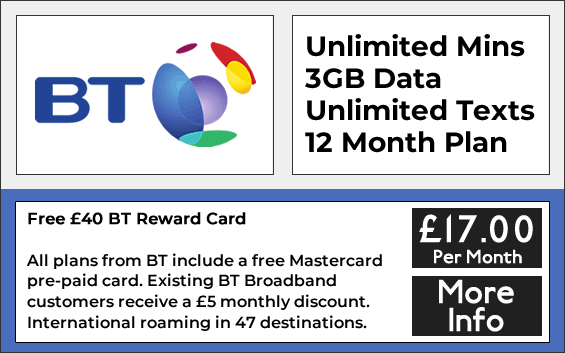 BT sim only deals with 3gb data, unlimited minutes and texts
