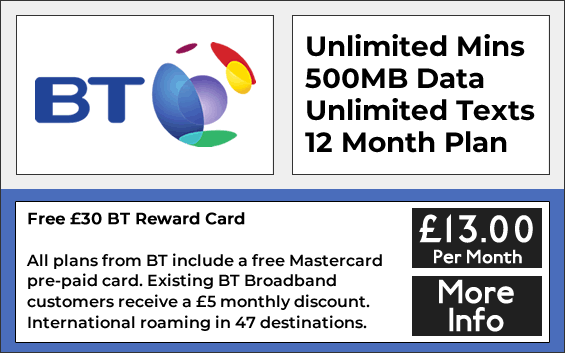 BT sim only deals with unlimited minutes, unlimited texts and 500mb data