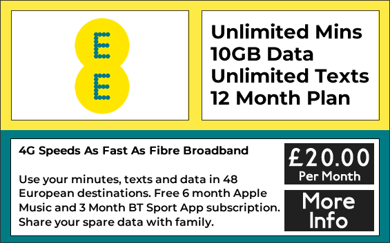 EE sim only plan with unlimited minutes, 10gb data and unlimited texts