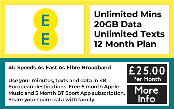 ee Sim only deals with unlimited minutes, 20GB data and unlimited texts