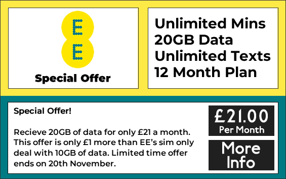 EE sim only deals with unlimited minutes, unlimited texts and 20GB data
