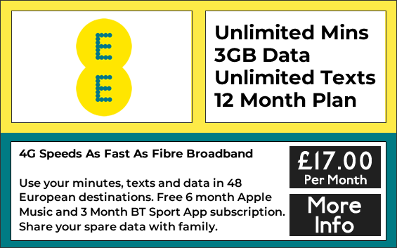 EE sim only contract with unlimited minutes, texts and 3gb data