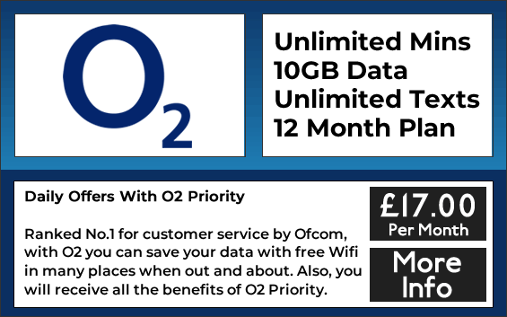 O2 sim only contracts with unlimited minutes, unlimited texts and 10GB data