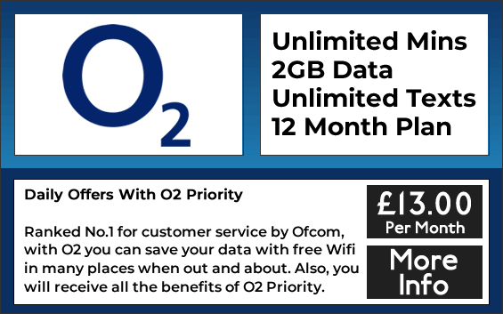 O2 sim only plans with unlimited minutes, unlimited texts and 2gb data