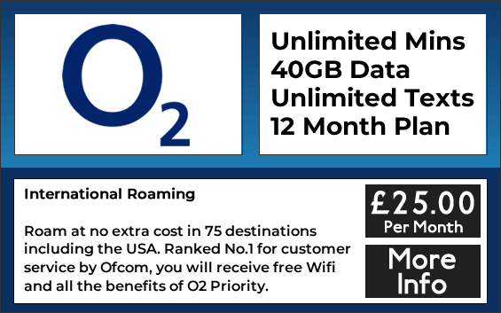 O2 sim only plan with unlimited minutes, unlimited texts and 40gb data
