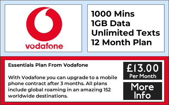Vodafone sim only deals with 1000 minutes, 1gb data and unlimited texts