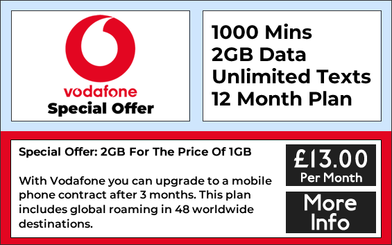 Vodafone sim only with 1000 minutes, 2GB data and unlimited texts