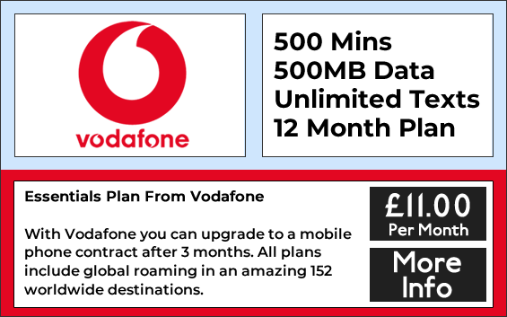 Vodafone sim only deals with 500 minutes, 500mb data and unlimited texts