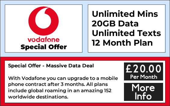Vodafone sim only deals with 20gb data, unlimited minutes and unlimited texts