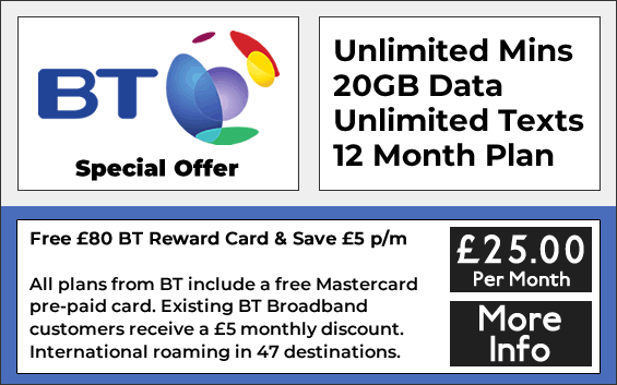 BT sim only contracts with unlimited minutes, 20gb data and unlimited texts