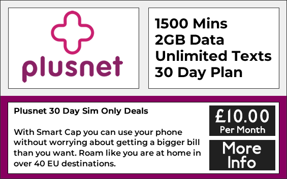 Plusnet sim only plans with 1500 minutes, unlimited texts and 2gb data