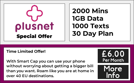Plusnet sim only deals woth 2000 minutes, 1000 texts and 1GB data