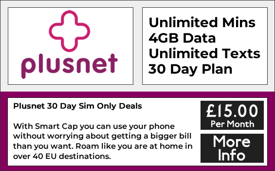 Plusnet sim only deals with unlimited minutes, unlimited texts and 4gb data