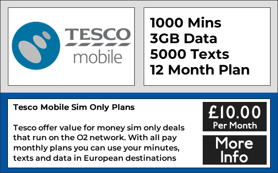 Tesco Mobile sim only deals with 1000 minutes, 5000 texts and 3gb data