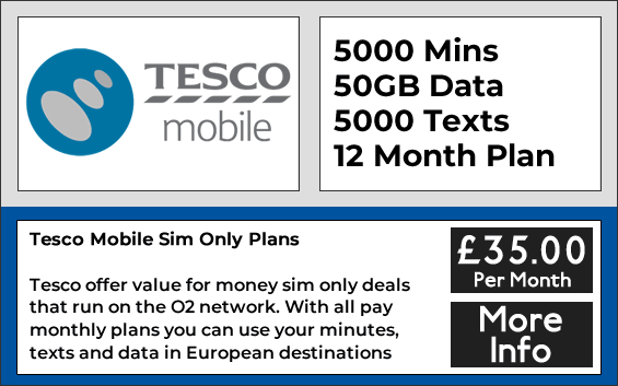Tesco contract sim card with 5000 minutes, 5000 texts and 50GB data allowance