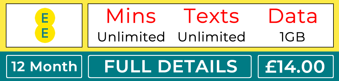 EE sim with unlimited minutes, unlimited texts and 1gb data