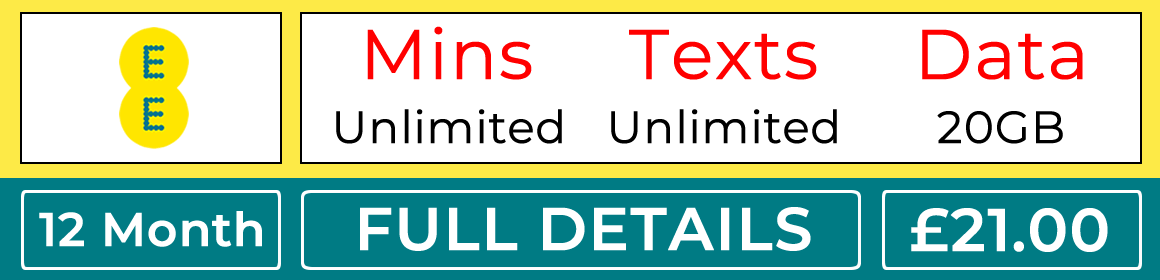 EE sim with unlimited minutes, unlimited texts and 20gb data