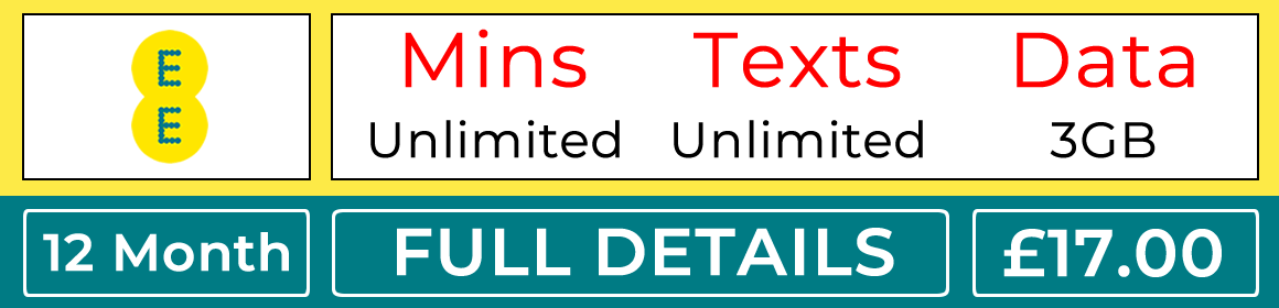 EE sim with unlimited minutes, unlimited texts and 3gb data