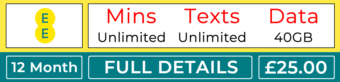 EE sim with unlimited minutes unlimited, texts and 40gb data