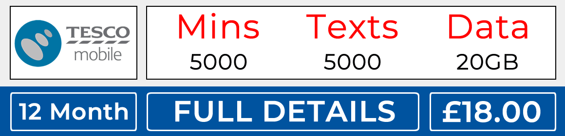 Tesco sim with 5000 minutes, 5000 texts and 20gb data