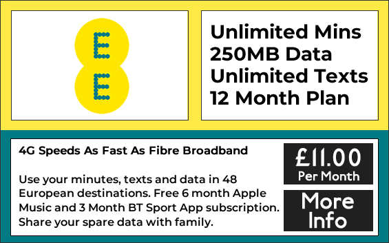 EE Sim only with unlimited minutes, unlimited texts and 250mb data